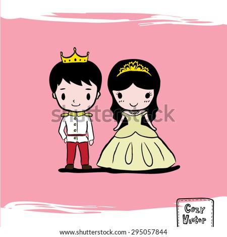 Hand Drawing prince and princess character cartoon vector. - stock vector