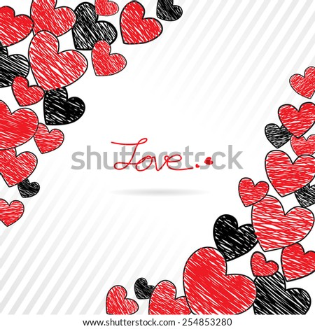 Hand drawing red and black hearts frame, Valentines background, Vector Illustration EPS 10.