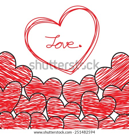 Hand Drawing Red Hearts, Valentines Day Card, Vector Illustration EPS 10. - stock vector