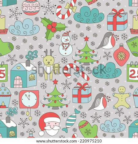 Hand-drawing seamless Christmas and new year pattern. Vector illustration. - stock vector