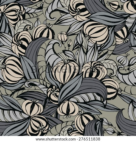 Hand drawing Seamless pattern unusual flowers with leaves.  - stock vector