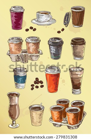 hand drawing set of coffee - stock vector