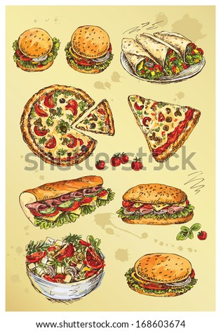 hand drawing  set of sandwiches,pizza and salad - stock vector