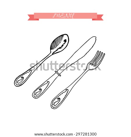 Hand drawing sketch set of fork, knife and spoon. Cutlery collection. Restaurant menu design. Vector illustration. - stock vector