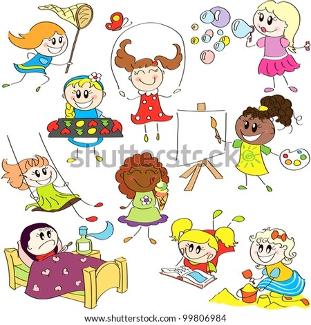 Hand drawing sketches of little girls  in different actions - stock vector