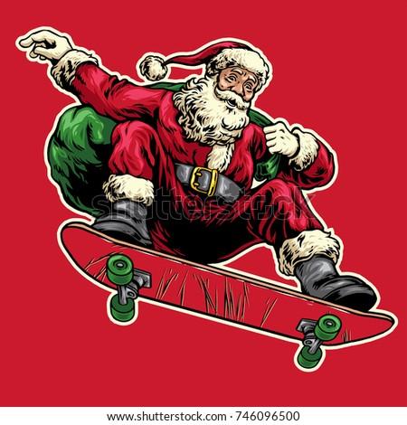 Santa Riding Scooter Stock Vector 163093847 Shutterstock Click Santa Claus Skateboard