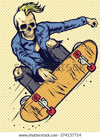 hand drawing style skull play skateboarding - stock vector