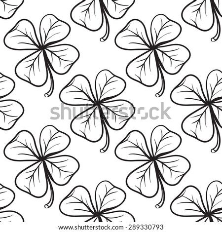 Hand drawing symbols of luck seamless pattern. Vector background with clover on white background. Chess grid order