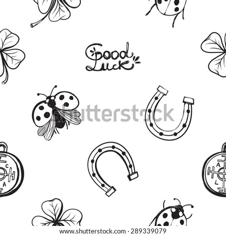Hand Drawing Symbols Luck Seamless Pattern Stock Vector 289339079