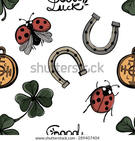Hand drawing symbols of luck seamless pattern. Vector background with ladybird, ladybug, arc, slogan, fortune wheel, horseshoe, clover, quatrefoil on white background. Chess grid order - stock vector