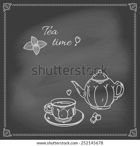 Hand-drawing tea cup and saucer and teapot chalk on blackboard. - stock vector