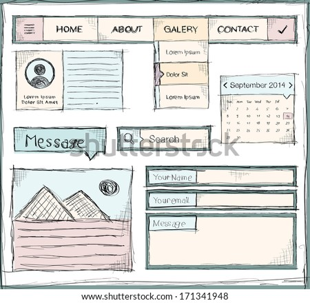 Hand drawing template of website, vector - stock vector