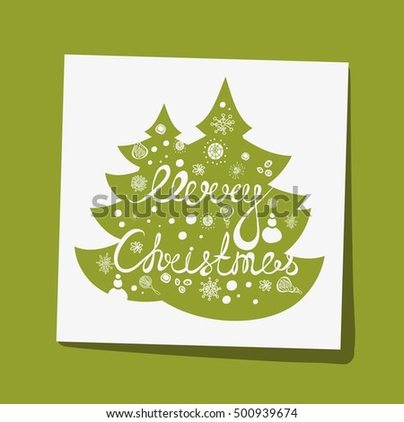 Hand drawing text for Merry Christmas. Greeting card. Bright multi-colored romantic letters. Modern and stylish hand drawn lettering. Hand-painted inscription. Christmas decorations, snow falling.