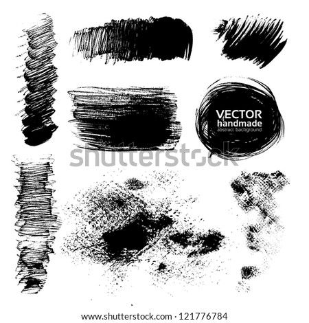 Hand-drawing textures of brush strokes - stock vector