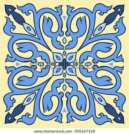 Hand drawing tile pattern in  blue and yellow colors. Italian majolica style. Vector illustration. The best for your design, textiles, posters