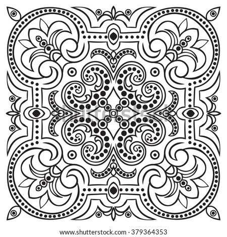 Hand drawing tile vintage black line pattern. Italian majolica style. Vector illustration. The best for your design, textiles, posters