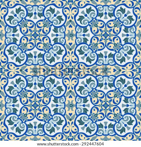 Hand drawing tile vintage color seamless pattern. Italian majolica style. Vector illustration. The best for your design, textiles, posters
