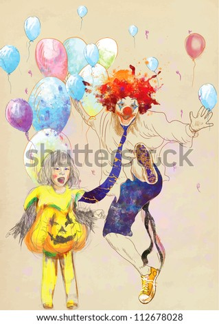 hand drawing using digital tablet (this is drawing converted into vector) - happy girl and lucky clown - stock vector