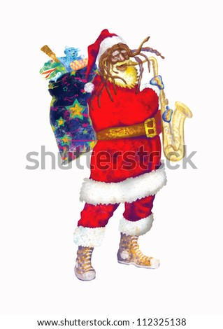 hand drawing using digital tablet (this is drawing converted into vector, resolution at 300 dpi, A4 international size) - - colored sketch bearded Santa Claus playing the saxophone - stock vector