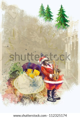 hand drawing using digital tablet (this is drawing converted into vector, resolution at 300 dpi, A4 international size) - - colored sketch Santa Claus playing the saxophone (unconventional character) - stock vector