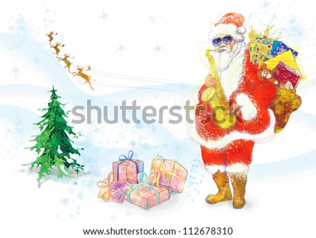hand drawing using digital tablet (this is drawing converted into vector, resolution at 300 dpi, A4 size) - - colored sketch bearded Santa Claus playing the saxophone (the reindeer in the background) - stock vector