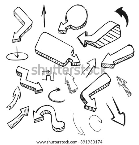 Hand drawing vector arrow collection, doodle illustration on white background. Hand drawn arrow vector. Hand drawn arrow sign. Hand drawn arrow eps.Hand drawn arrow flat. Hand drawn arrow design. - stock vector