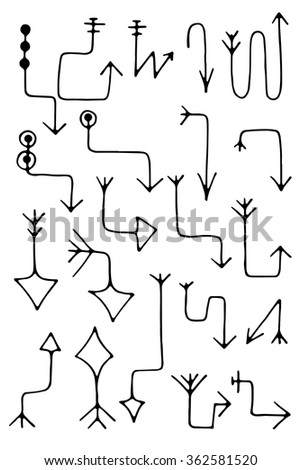 Hand drawing vector arrow collection isolated on white background - stock vector