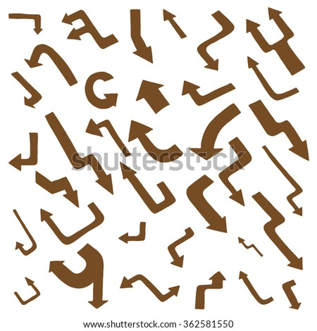 Hand drawing vector Brown arrow collection isolated on white background - stock vector