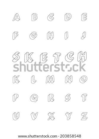 hand drawing vector doodle sketch alphabet - stock vector