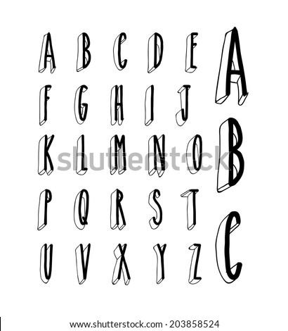 hand drawing vector doodle sketch font - stock vector