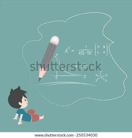 hand drawing vector illustration. Cartoon boy  and mathematics - stock vector