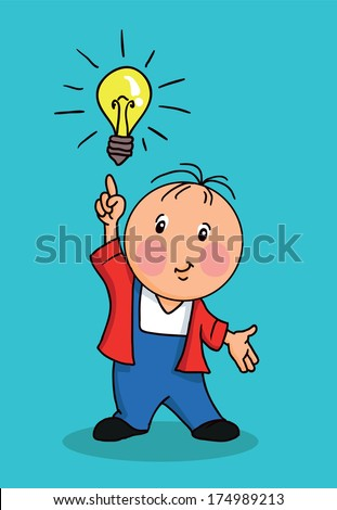 hand drawing vector illustration. Cartoon boy with an idea. Child and bulb icon.
