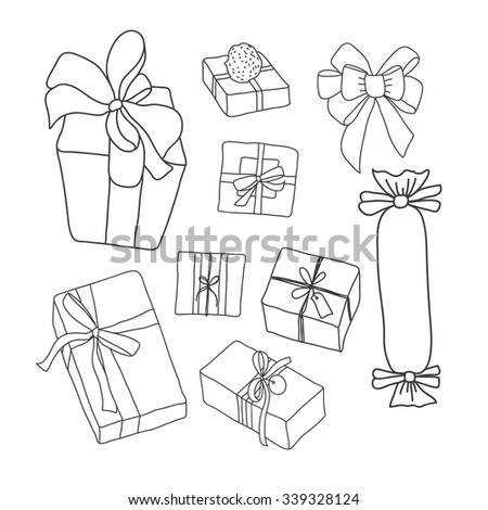 Hand drawing vector set with gifts. Vector sketch gift boxes for any holiday - New Year, Birthday, Christmas and many more