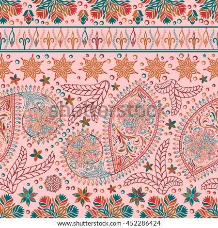 Hand drawing wallpaper. Paisley vintage floral motif ethnic seamless background. Printable colors abstract lace pattern. Editable colors without losing seamlessly. Buta texture - stock vector