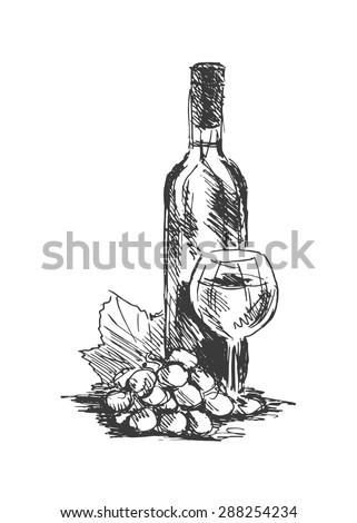 Hand drawing Wine Still Life - stock vector