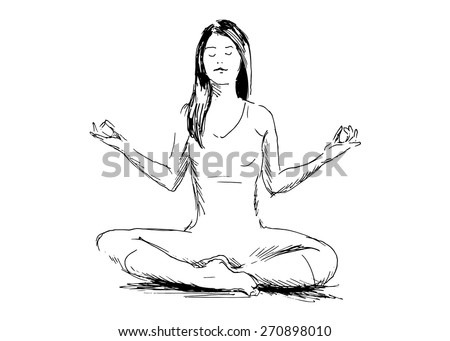 hand drawing women meditating - stock vector
