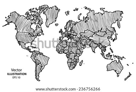 Hand drawing world map vector illustration vectores en stock hand drawing world map vector illustration eps 10 gumiabroncs Image collections