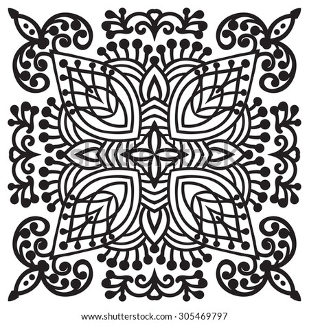 Hand drawing zentangle element. Black and white. Flower mandala. Vector illustration. The best for your design, textiles, posters, tattoos