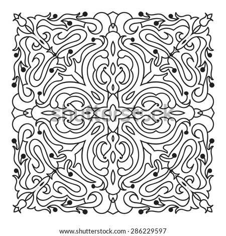 Hand drawing zentangle element. Italian majolica style Black and white. Flower mandala. Vector illustration. The best for your design, textiles, posters, tattoos, corporate identity