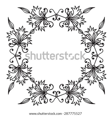 Hand drawing zentangle floral decorative frame. Black and white. Flower mandala. Vector illustration. The best for your design, textiles, posters, tattoos, corporate identity