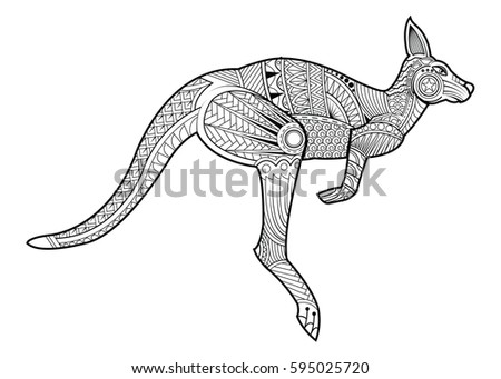 hand drawing zentangle kangaroo for coloring page shirt design effect logo tattoo and