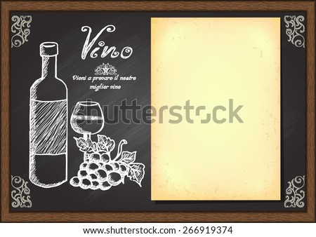 Hand drawn a bottle and glass of wine with grape and old paper on chalkboard. Menu design template. Ready to use. - stock vector