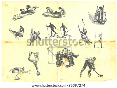Hand drawn a large collection of winter sports - skiing, ice hockey, figure skating, etc. Detailed and precise work. - stock vector