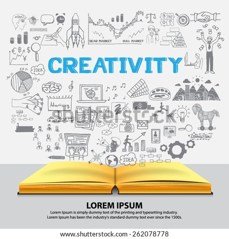 Hand drawn about CREATIVITY on notebook. - stock vector
