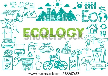Hand drawn about ECOLOGY isolated on white. - stock vector