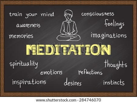 Hand drawn about meditation on chalkboard. - stock vector