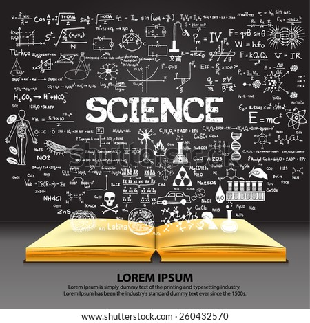 Hand drawn about SCIENCE on opened book with chalkboard background. - stock vector