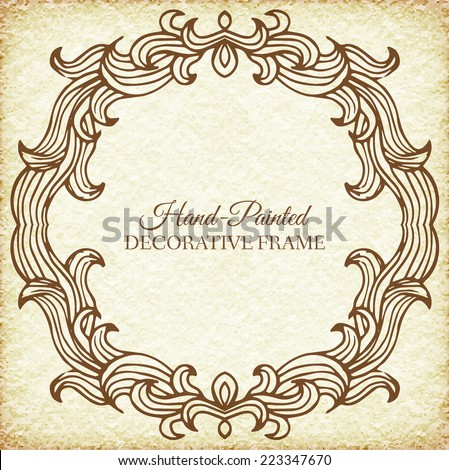 Hand drawn abstract background ornament frame on old paper illustration concept. Vector decorative retro banner of card or invitation design. Vintage traditional, indian, ottoman motifs, elements.  - stock vector