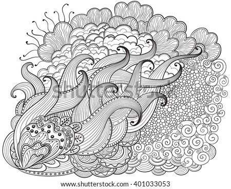 Hand Drawn Abstract Background Vector Outline Wavy Drawing Coloring Book For Adult And