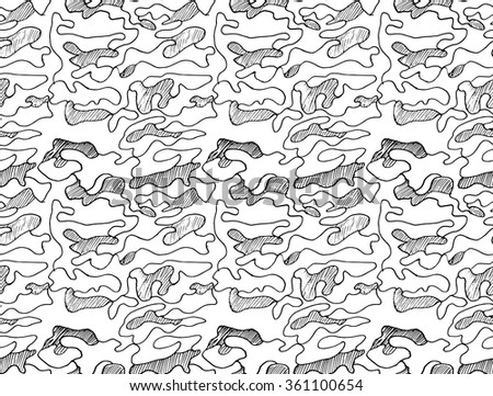 Hand drawn abstract camouflage khaki seamless pattern, vector illustration. - stock vector